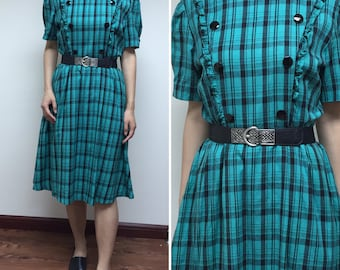 Japanese Vintage Plaid Dress / Cotton Dress / Party Dress / Made in Japan / Size Small Medium