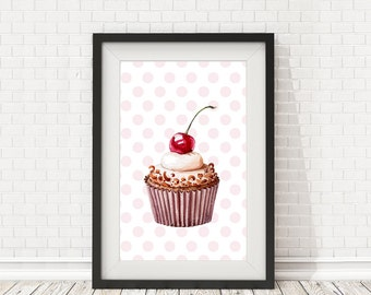 Cupcake Print, Kitchen decor, Cupcake poster, Bakery decor, Kitchen art, PRINTABLE art, Cupcake art, Kitchen wall art, Cupcake printable