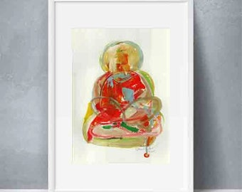 Buddha Art A4--Original abstract painting on paper-Modern fine art-Abstract wall art-Small abstract art- Acrylic painting-Size