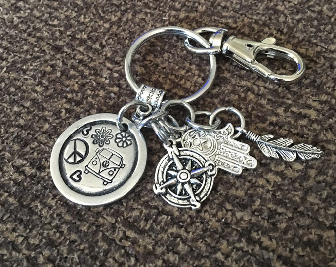 Featured listing image: VW Bus Keychain with Swivel Clip, Compass, Hamsa & Feather Charm, Stamped Pewter Keychain, VW Keychain, RV Keychain, Van Keychain, 600