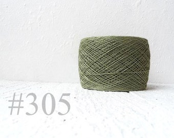 Laceweight Linen yarn - khaki green # 305