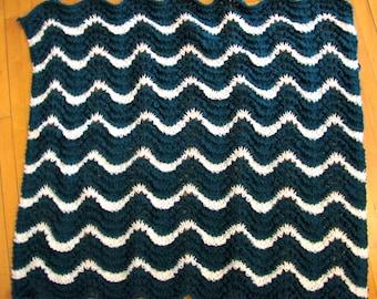 Wavy Teal Baby Blanket