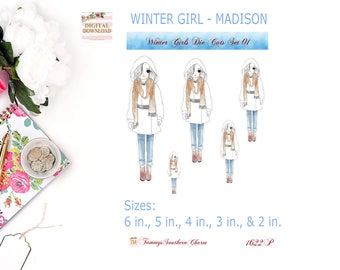 WINTER GIRL COLLECTION - All 3 Sets of Die Cuts, Christmas, Christmas Stickers Planner stickers, Holiday Die Cuts, Winter Die Cuts