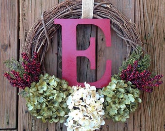 Christmas Monogram Wreath, Christmas Wreath, Wreath With Letter, Christmas Door Wreath, Holiday Decor, Monogram Wreath, Front Door Wreath