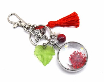 Key ring dried flower - romantic vintage chain silver Keyring FOB, tassel, red, cherry and leaves, butterfly handmand keychain