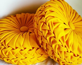 Set of Two Handmade Yellow Canvas Pleated Pillows