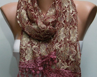 Cinnamon  Lace Scarf Shawl Scarf Cowl Bridesmaid Gift Bridal accessories Gift Ideas For Her Women Fashion Accessories best selling item