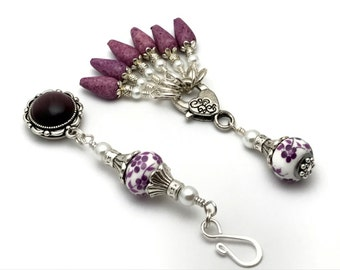 Purple Flowers Magnetic Portuguese Knitting Pin & Snag Free Stitch Markers, Gift for Knitters