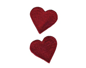 Red Hearts Sew On Applique, Red Hearts Sew-On Patch, Love Patch, Red Hearts Applique, Heart Patch, Fun Patch, Embroidered Patch