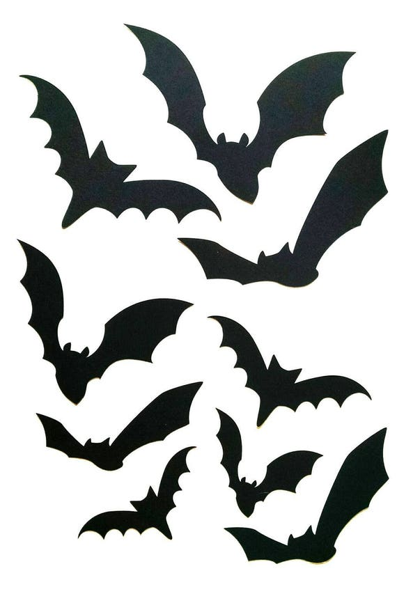 Paper Bat Cutouts 60 Piece Kit Halloween Silhouette Wall