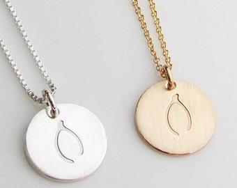 Wishbone Necklace, Wish Bone Charm Necklace, Wish Bone Charm,  Sterling Silver Wishbone Necklace, 14K Gold Filled Wishbone Charm, Stamped