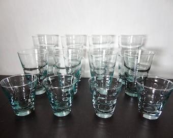 Vintage Libbey Aqua Blue Saturn Optic Ripple Glassware by Freda Diamond - 4 Coolers, 4 Tumblers, and 4 Juice Glasses - Set of 12