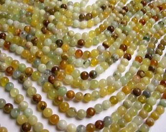 New Jade 6 mm round - A quality - 66 beads per strand -  1 full strand - RFG79