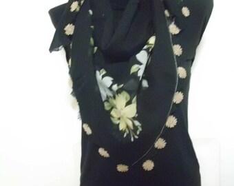 Cotton Turkish Scarf with Needle Lace Handmade / oya / yazma 11