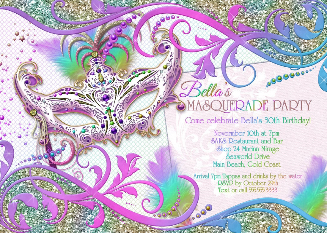 Masquerade Party Invitation Masquerade Party Mardi Gras