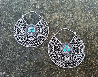 Aztec Circular Turquoise Hoop White Brass Earrings with Sterling Silver Ear Wires, Boho Jewelry, Tribal Hoops, Silver Hoops, Turquoise Hoops