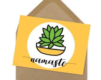 namaste cactus printable card | A6