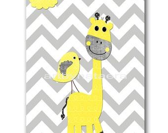 Baby Boy Nursery Art Print Childrens Wall Art Baby Room Decor Nursery Decor Kids Print Boy Baby Wall Art Giraffe Bird Yellow Gray