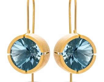 Blue Topaz & 14k Gold Plated Silver Earrings