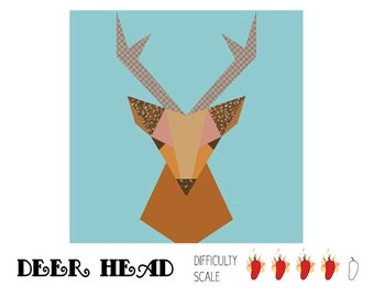 Deer Head paper pieced quilt pattern in PDF