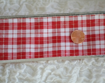 "5 YARDS Christmas 2.5"" Wide Red White Silver Lumberjack Plaid Wired Ribbon For Bows Craft Supplies Valentine's Day Decoration"