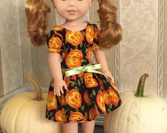 Pumpkin Halloween Doll Dress *Fits Wellie Wisher American Girl Doll