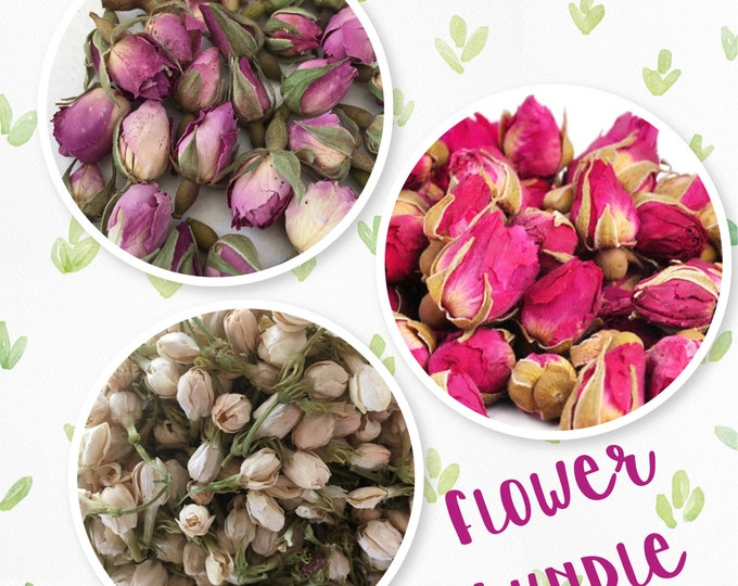 Flower Bundle Pink Rose, White Jasmine Buds, Red Mini Rose Rose Flower Bundle | 3 oz total dried flowers | Free US Shipping | Dried Flowers