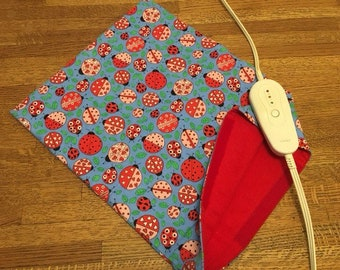 """Electric Heating Pad Replacement Cover 12"""" x 15"""" - ladybugs"""