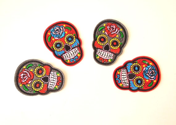 Red Sugar Skull Iron-on Patch - Sugar skull iron on applique - Dia de los Muertos skull apliques - Iron on patches - Skeleton patches.