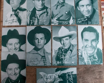 Lot of 10 Cowboy Penny Arcade Cards Vintage Black and White