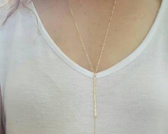 Gold Labradorite Y Necklace, Long Gold Y Necklace, Layering Necklace, Gemstone Necklace
