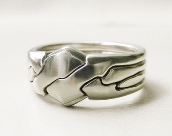 PIGGYBACK - Unique Puzzle Rings by PuzzleRingMaker - Sterling Silver or Gold - 4 Bands