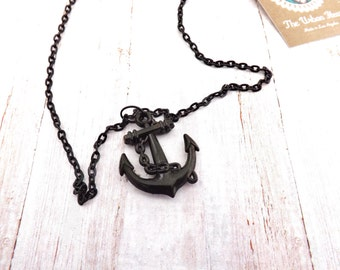 Rockabilly Pinup Anchor  Necklace / Nautical Black Necklace