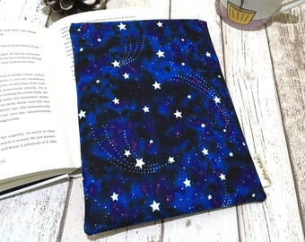 Glow in the Dark Book Buddy, Small Medium Book Sleeve, Book Lover Gift, Star Book Pouch, Paperback Cover, Black Blue Starry Night Book Bag