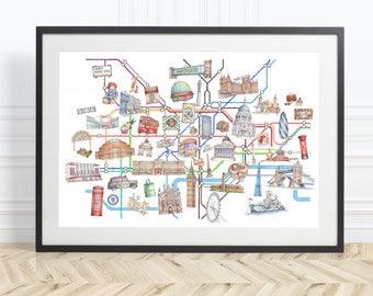 Limited Edition London Tube / Underground Map Art Print