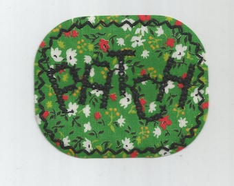 Green Floral with PATCH embroidered in Black Rare 1970s Vintage Sewing Patch Retro