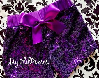 Purple sequin shorts , Baby Girls Sparkle Sequin SHORTS-  girls birthday outfit- girls sequin shorts- toddler shorts- toddler sequin shorts