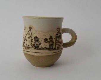 Christmas ceramic mug, Christmas pottery mug, Christmas pottery handmade stoneware mug, Christmas cup,Christmas stoneware cup, pottery mug