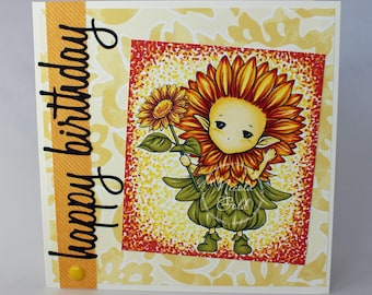 Birthday card | Sunflower card | Floral card | Cute card | OOAK Handmade card