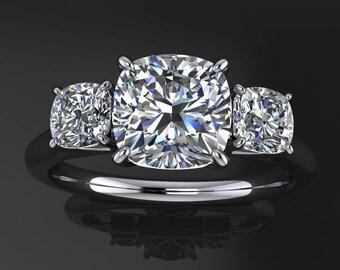 eden ring - 1 carat NEO moissanite engagement ring, 3 stone anniversary band