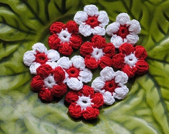 Red and white crochet mini flower appliques. Crochet supplies for your scrapbooking, cards and other crafts.