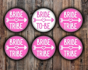 Hot pink Bride and Bride Tribe pins, 2.25 inch, for bachelorette, shower, wedding