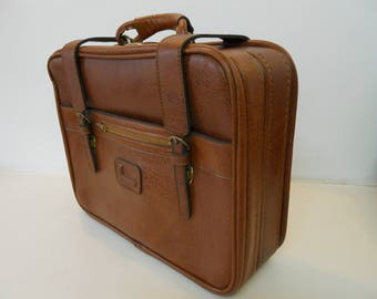 Vintage Retro 70s Lancel Suitcase. Overnight Case. With Key