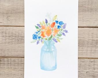 Watercolor Florals in Mason Jar-Small