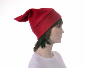 Dark Red Elf Hat Costume Fleece Beanie Hat Mens Hat Womens Hat Stocking Cap Watchman Cap