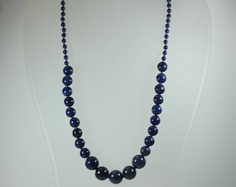 Art Deco Style (1920-1935) Sterling Silver Lapis Lazuli Graduated Beaded Necklace