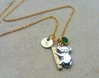 Koala Gold Tone Initial Personalized tag Custom Koala Bear Necklace