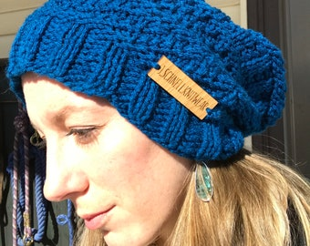 Hand knit textured slouchy stylish hat