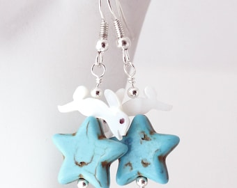 White Rabbit Earrings - Mother of Pearl Bunny Beads, Turquoise Blue Magnesite Stars, Bunny Jewelry, Silver Earwires, Leaping Lagomorphs