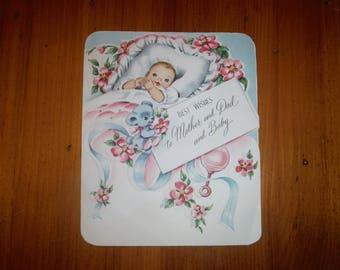 Cute Vintage 1940's New Baby Card - '40's New Baby Boy Girl Baby Toys Vintage Card - Shabby Chic Infant Boy Girl Ephemera